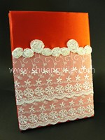 Elegant Lace Wedding Guestbook - Red~30% OFF!