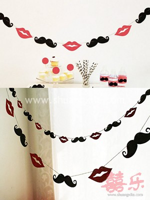 Lips and Mustache Garland