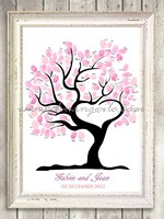 My Heart Wedding Tree Thumbprint Guestbook ( Medium (50-100 guests) )