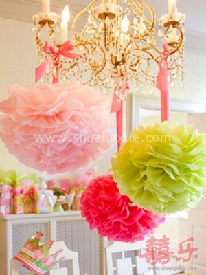 Paper Pom Pom Decor (Many Colors available) ~50% OFF