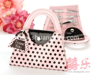 Pink Polka Dot Purse Manicure Set