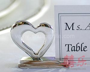 Playful Hearts Silver Placecard Holder