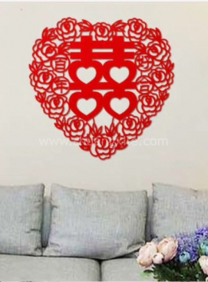 Extra Large Heart Xi Felt Decor