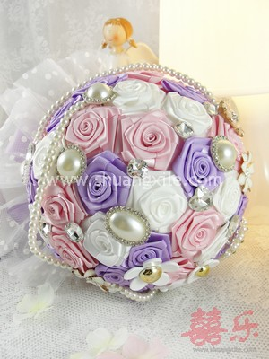 Always Remembered Purple Pink Fabric Bouquet