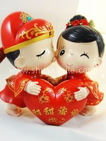 Cutie Couple Holding Heart Figurine Large