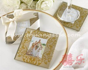 Golden Brocade Elegant Glass Photo Coasters (2pcs)