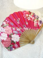 Japanese Silk Fan (Dark Pink)