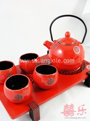 Teaset - Red Xi Japanese Style (Round)