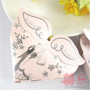 Angel Wing Pink Wedding Candy Box (25pcs)