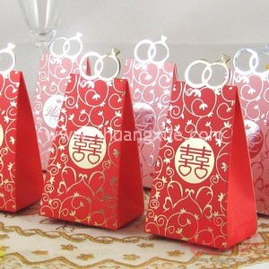 Red Happiness Diamond Ring Wedding Candy Box (25pcs)